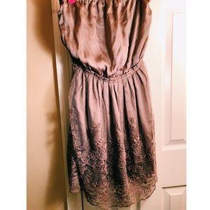 Boutique Mauve Strapless Dress with Lace